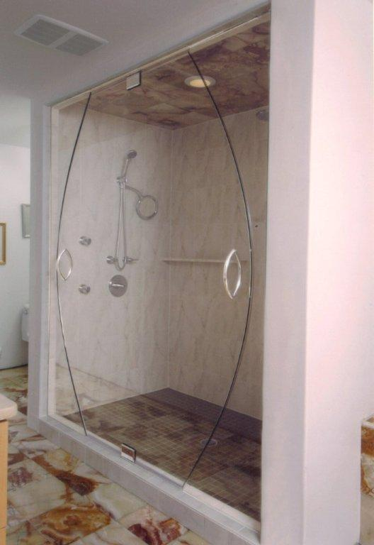 Shower doors tub enclosures harbor all glass mirror for All glass shower